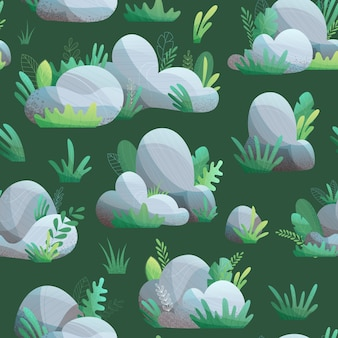 濃い緑色の背景に草や葉と石のシームレスなパターン