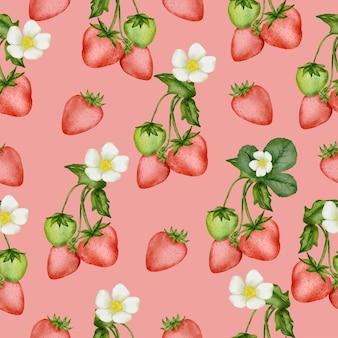 イチゴ、花、葉のシームレスなパターン