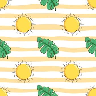 太陽と葉の落書きスタイルで夏のコンセプトのシームレスパターン