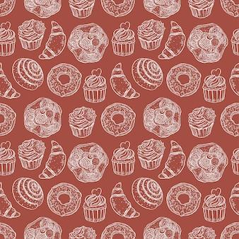 甘いパン屋のシームレスなパターン
