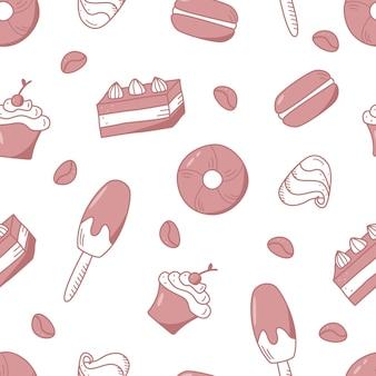 お菓子やデザートのシームレスなパターン。アイスクリームカップケーキドーナツキャンディーの要素とベクトルの背景。