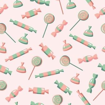 Бесшовный фон из конфет и леденцов