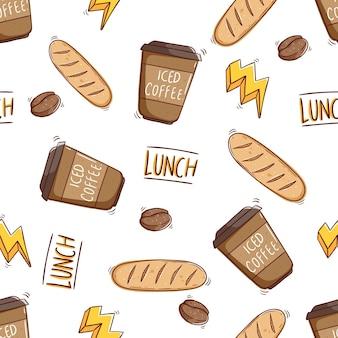 おいしいパンとアイスコーヒーの紙コップのシームレスなパターン