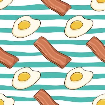 おいしい卵とベーコンの色の落書きスタイルのシームレスパターン