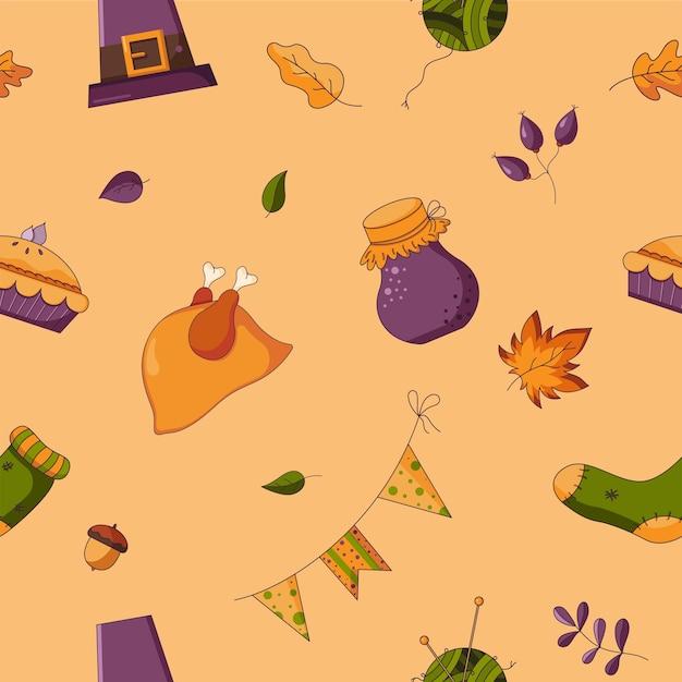 オレンジ色の背景に分離されたフラットスタイルの感謝祭のシームレスなパターン