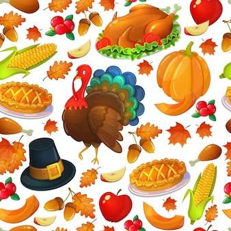 感謝祭のアイコンのシームレスなパターン