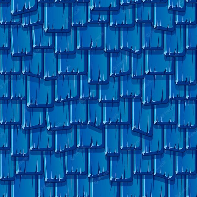 古い木製の青い屋根のシームレスなパターン。テクスチャード加工のヴィンテージ屋根。