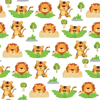 Бесшовный фон из мультфильма тигра и льва, играющего в прятки