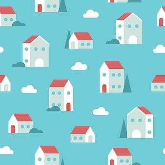 Бесшовный фон из крошечных геометрических домов с облаками и деревьями в синих тонах