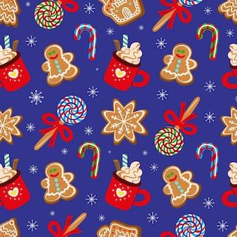 전통적인 크리스마스 디저트 그림의 원활한 패턴