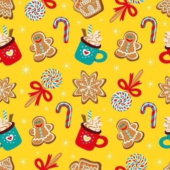 Бесшовный фон из традиционных рождественских сладостей векторные иллюстрации
