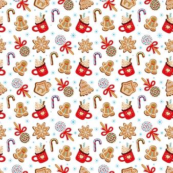 Бесшовный фон из традиционных десертов на рождество векторные иллюстрации