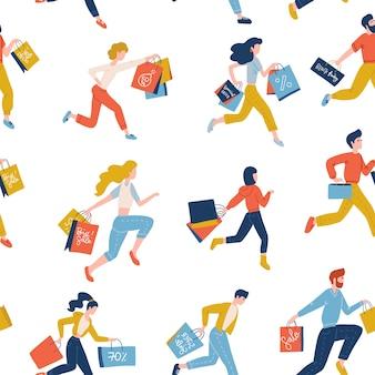 Бесшовные модных бегущих мужчин и womwn, несущих хозяйственные сумки. концепция продажи черной пятницы