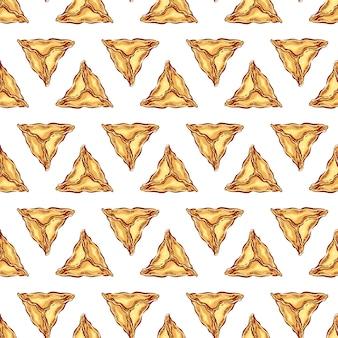 삼각형 고기 만 두의 완벽 한 패턴입니다. 손으로 그린 그림