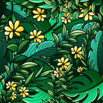 Бесшовный фон из тропических зеленых листьев