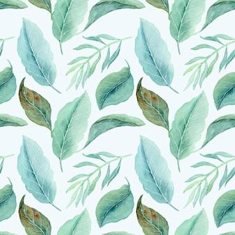 水彩画と熱帯の葉のシームレスなパターン