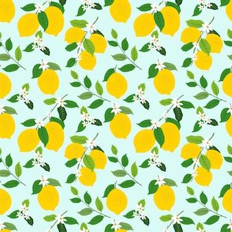 葉と花と熱帯のライムやレモンの果実のシームレスなパターン
