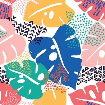 열대 몬스테라의 완벽 한 패턴은 이국적인 창조적 인 보편적 인 꽃 패턴을 남깁니다.