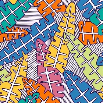 Бесшовный фон из листьев тропических пальм. экзотический творческий универсальный цветочный узор. дизайн для плаката, карты, приглашения, плаката, флаера, текстиля. векторные иллюстрации.