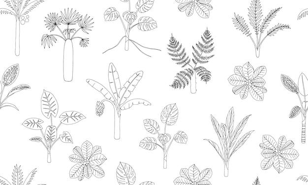 Бесшовный фон из тропических растений.