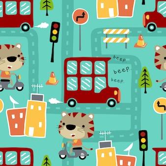 タイガーと都市交通のシームレスパターン