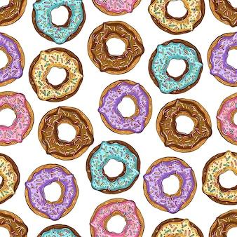 さまざまな色のドーナツのシームレスなパターン
