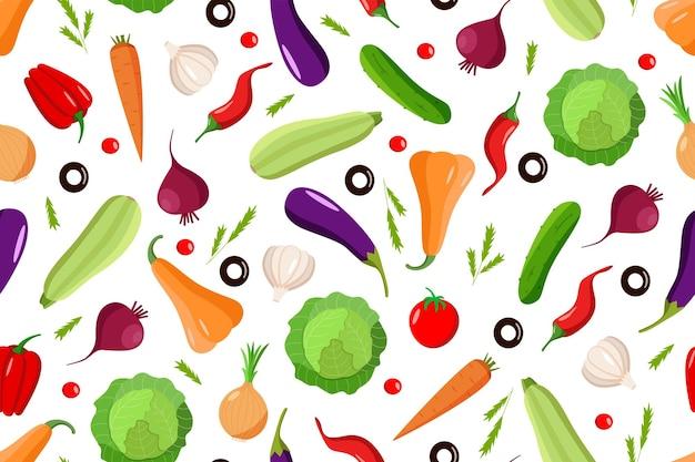 Бесшовный фон из различных овощей, набор осеннего урожая.