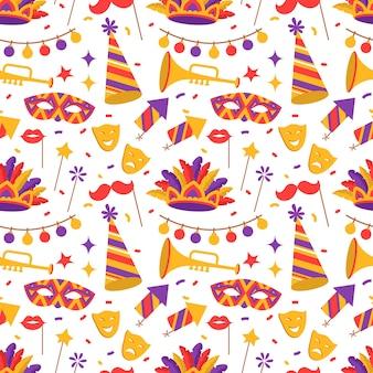 フラットスタイルのベネチアンカーニバルシンボルのシームレスなパターン