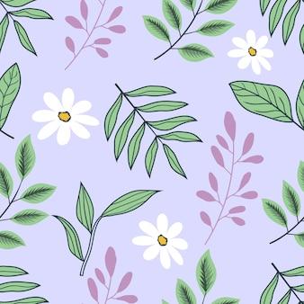 빈티지 꽃 열 대 꽃과 잎의 완벽 한 패턴
