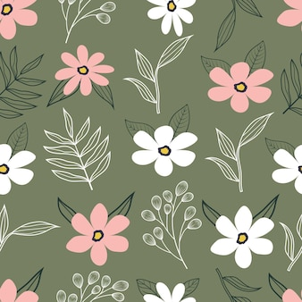 ヴィンテージの花の熱帯の小さな花と葉のシームレスなパターン