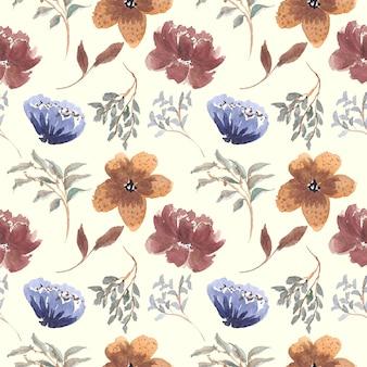 ヴィンテージ花柄水彩画のシームレスなパターン