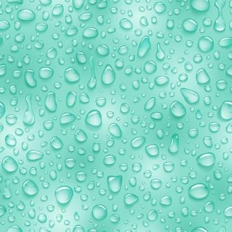 Бесшовный фон из капель воды различной формы с тенями в светло-зеленых тонах