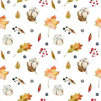 Бесшовный фон из акварельных осенних листьев деревьев, цветов хлопка и лесных ягод