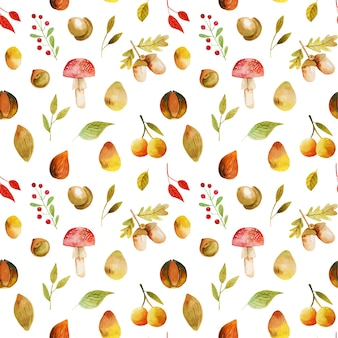 Бесшовный фон из акварельных осенних листьев деревьев, осенних лесных ягод, желудей и грибов