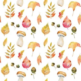 Бесшовный фон из акварельных осенних листьев деревьев, листьев гинкго билоба, ветвей рябины, желудей и белых грибов