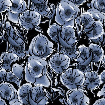 수채화 블루 꽃의 완벽 한 패턴 섬세 하 고 우아한 식물