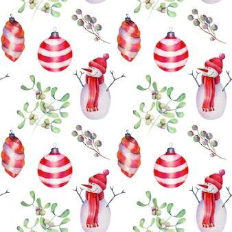 Бесшовный фон акварельных рождественских украшений, снеговика и омелы, рисованной