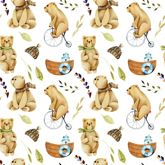Бесшовные акварельных милых медведей на велосипеде