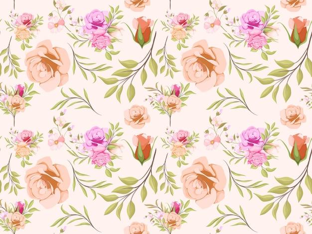水彩花のシームレス パターン