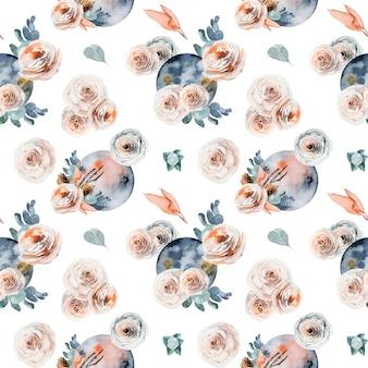 Бесшовный фон акварельной полной луны в винтажном цветке розовых и белых роз эвкалипта Premium векторы