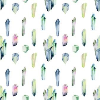 水彩の宝石と緑の色の結晶のシームレスパターン、白の手描きイラスト