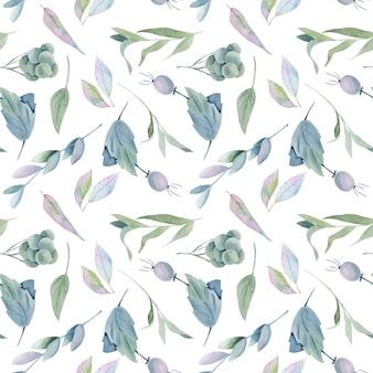 수채화 녹색 잎, 브라 열매와 가지의 완벽 한 패턴