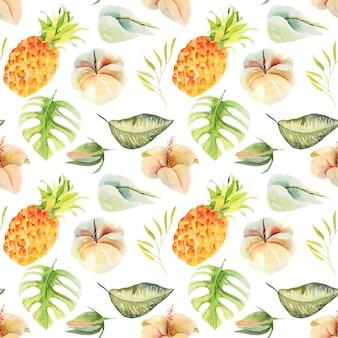 Безшовная картина ананаса акварели и тропических цветков и листьев, руки покрасила изолированную иллюстрацию.