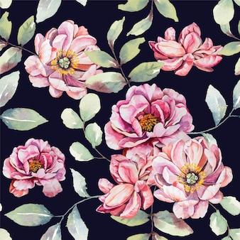 水彩ピンクの花のシームレスなパターン