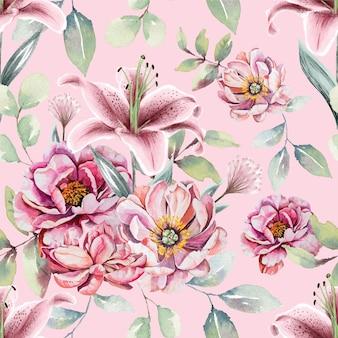 Бесшовный фон из акварельных розовых цветов