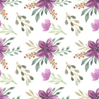 水彩紫の花の花束ベクトルのシームレスなパターン