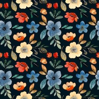 暗い背景に水彩の野花のシームレスなパターン