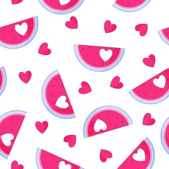 결혼식이나 발렌타인 데이를 위한 마음으로 수박의 매끄러운 패턴입니다.