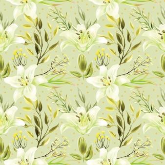 白いユリの花と緑の葉のシームレスパターン