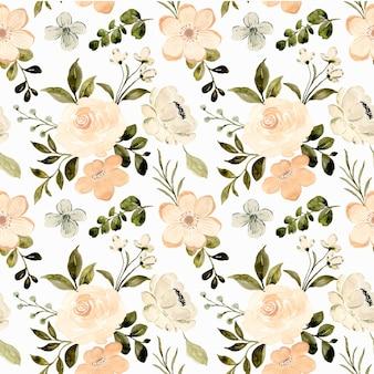Бесшовные модели из белого персика с цветочным рисунком с акварелью